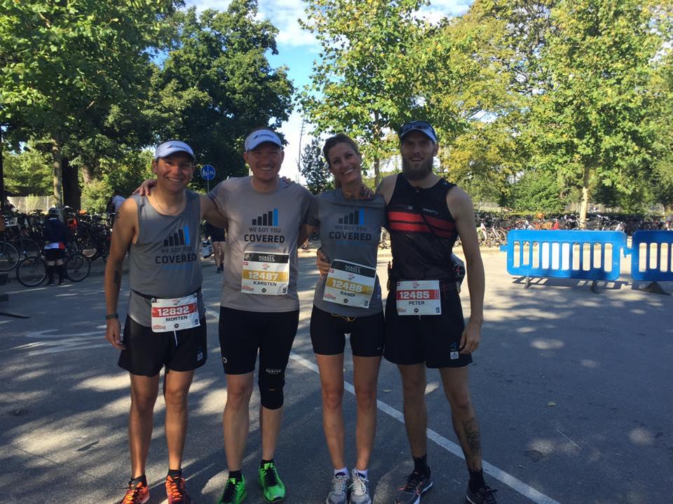 Fire skarpe løbere klar til et indtage København. Fra højre; Peter, Randi, Karsten & Morten